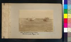 Native sail boats running to shore : Bacolod, Western Negros -- 1901