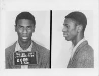 Mississippi State Sovereignty Commission photograph of Clarence Lloyd Thomas, Jr. following his arrest for his participation in the Freedom Rides, Jackson, Mississippi, 1961 May 25