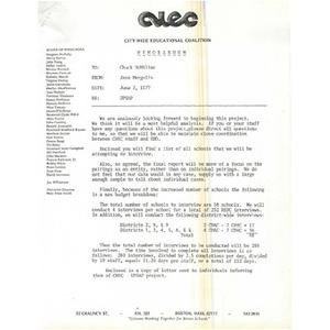 Memo, UPSAP, June 2, 1977.