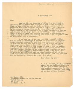 Letter from W. E. B. Du Bois to United Nations Secretary-General