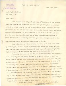 Letter from A. P. Holly to W. E. B. Du Bois