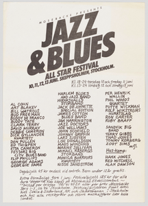 Flier for Jazz and Blues All Star Festival in Stockholm
