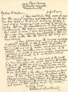 Letter from William S. Braithwaite to W. E. B. Du Bois