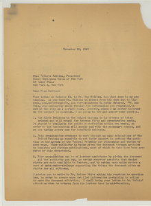 Letter from Hugh H. Smythe to Hospital Employees Union of New York