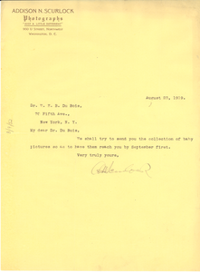 Letter from Addison N. Scurlock to W. E. B. Du Bois