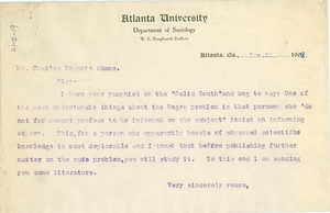 Letter from W. E. B. Du Bois to Charles Francis Adams