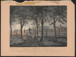 "Sketches with Co. B, 8th Reg. Pa. Ma. under the officers of the old ""Southwark Gaurd [sic] ""the night in the apple orchard"""