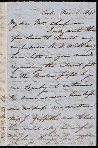 Letter from Isabel Jennings, Cork, [Ireland], to Maria Weston Chapman, Nov. 1, 1848