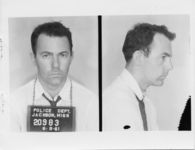 Mississippi State Sovereignty Commission photograph of Edward Bromberg following his arrest for his participation in a Freedom Ride, Jackson, Mississippi, 1961 June 9