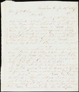 A.T. Spalding, Madison, Ga., autograph letter signed to Ziba B. Oakes, 29 January 1857
