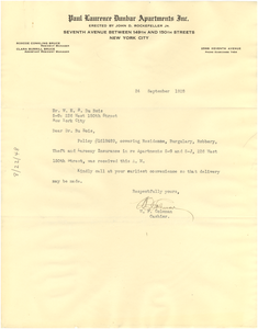 Letter from Paul Laurence Dunbar Apartments, Inc. to W. E. B. Du Bois