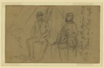 In front of the princes tent, C. de Paris and Col. Astor