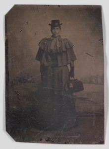 Tintype of a woman carrying a medical bag