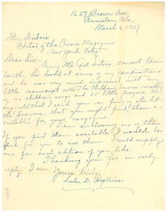 Letter from Lulu D. Hopkins to W. E. B. Du Bois