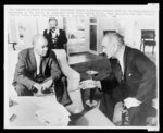 [Roy Wilkins (left) confers with President Lyndon B. Johnson at the White House about civil rights legislation]