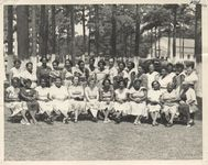 Mississippi State Sovereignty Commission photograph of a group of elementary school teachers belonging to the Elementary School Teachers Association of Meridian taken outside during a conference, Meridian, Mississippi, 1950s