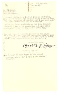 Letter from Charles J. Harris to W. E. B. Du Bois