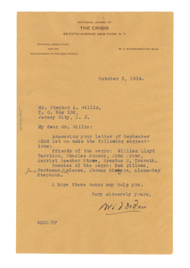 Letter from W. E. B. Du Bois to Stephen A. Gillis