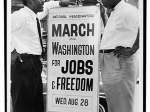 In front of 170 W 130 St., March on Washington, l to r Bayard Rustin, Deputy Director, Cleveland Robinson, Chairman of Administrative Committee