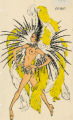 Costume design drawing, topless showgirl in yellow and black feathers #2, Las Vegas, June 5, 1980