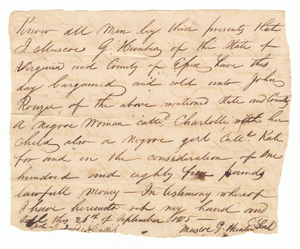 Bill of sale for Charlotte and her daughter Kate to John Rouzee