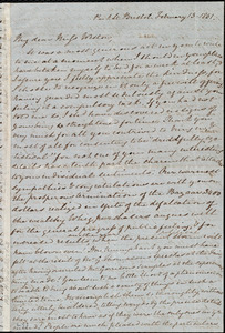 Letter from Mary Anne Estlin, Park St[reet], Bristol, [England], to Miss Weston, February 13, 1851