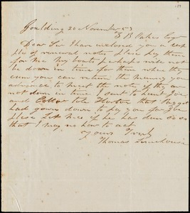 Thomas Limehouse, Goulding, S.C.[?], autograph letter signed to Ziba B. Oakes, 20 November 1853
