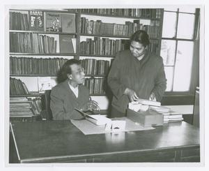 Photograph of Roxie Jarrell and Clara Hawkins, Dunbar Branch Library, Athens, Georgia, 1958 November 16-22