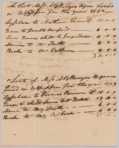 Account of hires of enslaved persons belonging to Apphia Rouzzee for 1812