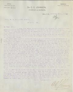 Letter from C. C. Johnson to W. E. B. Du Bois