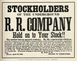 Illustration showing facsimile of Hand-bill of Underground Railroad