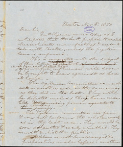 Letter from William Francis Channing, Boston, [Massachusetts], to Theodore Parker, 1850 Nov[ember] 5