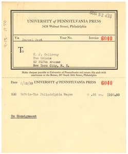 Invoice from the University of Pennsylvania Press