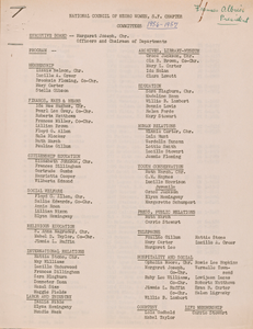 Membership list for the National Council of Negro Women, San Francisco Chapter