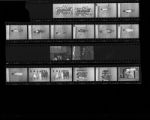Set of negatives by Clinton Wright including debutantes at a fashion show, Desert baseball team, and basketball candids, 1966