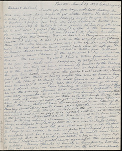 Letter from Anne Warren Weston, Boston, to Deborah Weston, March 23, 1839, Saturday eve'g