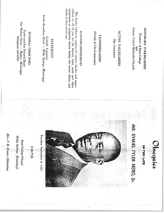 Program for the Funeral of Mr. Symiel Tyler Nero, Sr.
