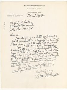 Letter from Milton S. J. Wright to W. E. B. Du Bois