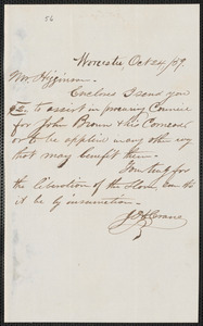 John H. Crane autograph note signed to Thomas Wentworth Higginson, Worcester, 24 October [18]59