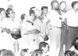 "Audience at a night gathering during the ""March Against Fear"" through Mississippi, begun by James Meredith."