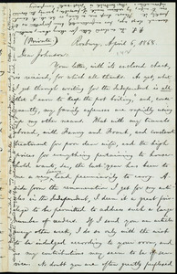 Letter from William Lloyd Garrison, Roxbury, [Mass.], to Oliver Johnson, April 6, 1868