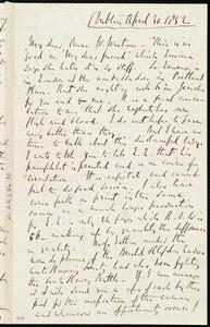 Letter from Richard Davis Webb, Dublin, [Ireland], to Anne Warren Weston, April 30, 1852