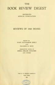 Book review digest, 1920 v.16