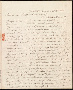 Letter from John Telemachus Hilton, Boston, [Mass.], to Maria Weston Chapman and Henry Grafton Chapman, April 30th, 1841