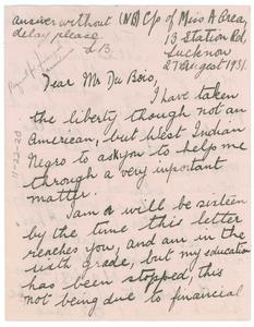 Letter from Lenore Belgrave to W. E. B. Du Bois