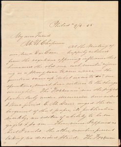 Letter from Sarah Pugh, Philad[elphi]a, [Penn.], to Maria Weston Chapman, 9/4 - [18]45