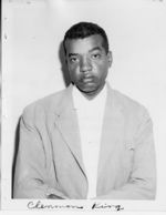 Mississippi State Sovereignty Commission photograph of Clennon Washington King, Jr. following his arrest in Gulfport, Mississippi, 1960s