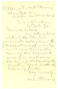 Letter from M. E. Stevens to W. E. B. Du Bois