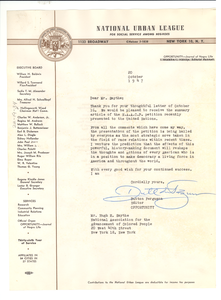 Letter from National Urban League to Hugh H. Smythe