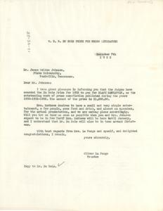 Letter from Oliver La Farge to James Weldon Johnson